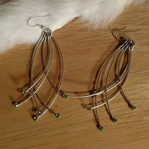 Long dangle earrings green stone